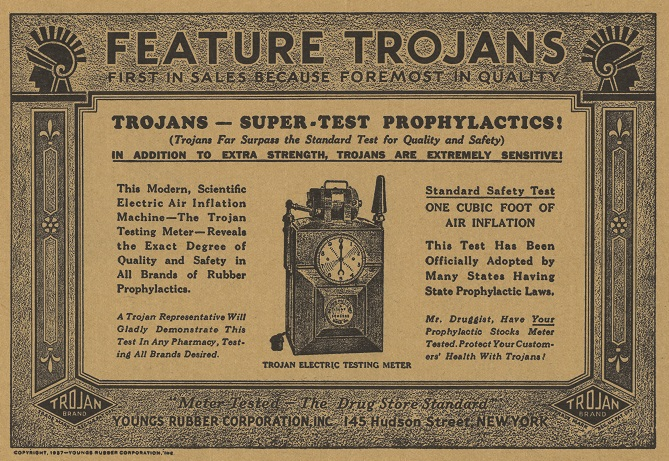 Advertisement in the first issue of The Sanitarian for Trojan prophylactics
