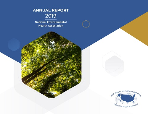 Cover of the NEHA 2019 Annual Report featuring a photograph of trees