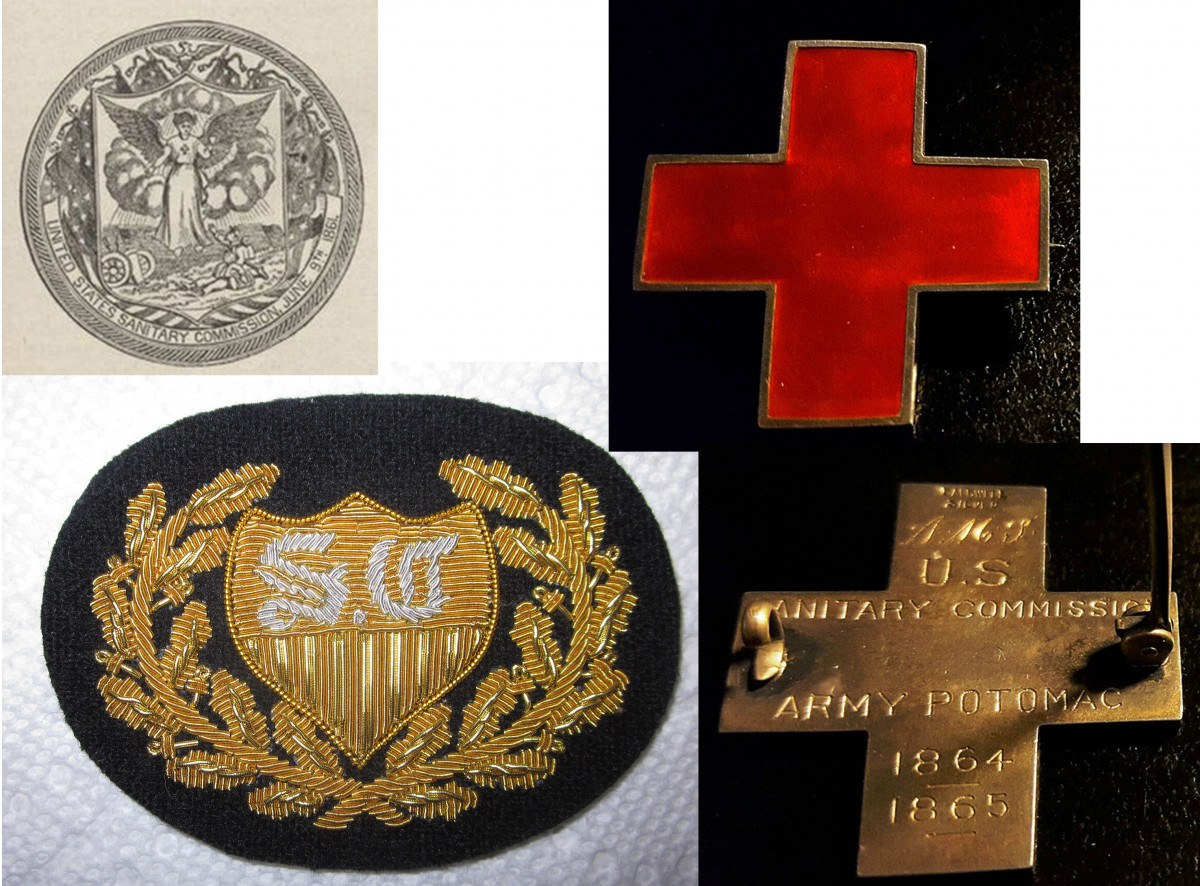 U.S. Sanitary Commission Badge and Officer Hat Device