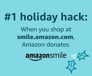 blue graphic with the following: #1 holiday hack: When you shop at smile.amazon.com Amazon donates. Amazon smile.