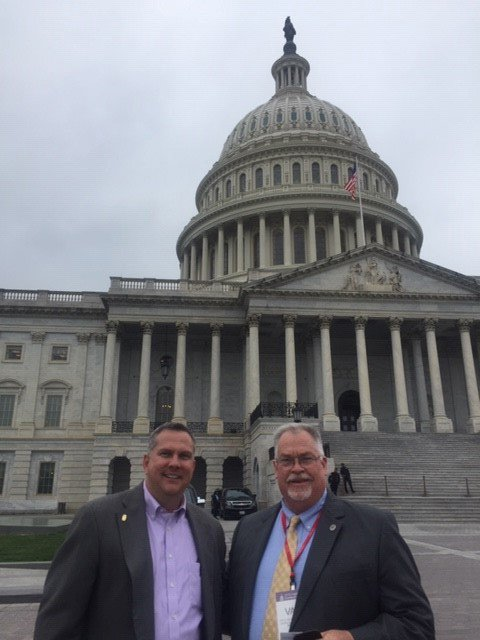 Region 7 Vice President Tim Hatch and Alabama Autauga County District 3 Commissioner Van Smith meeting at the Capitol