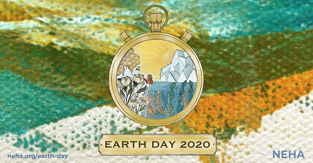 earth day artwork with texture in teal, gold, and white