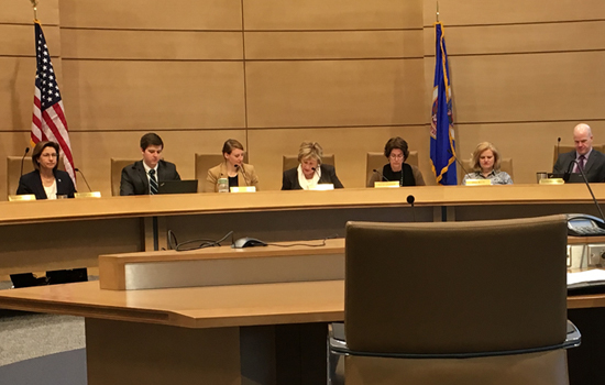 A hearing room at Minnesota State Legislature with people seated in front of flags