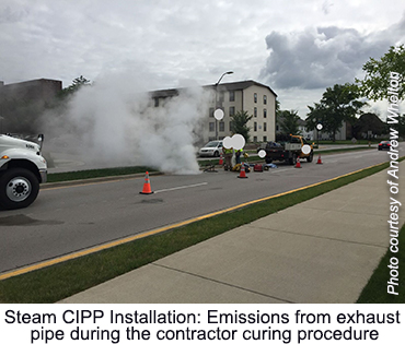 Steam CIPP Installation - Emissions from exhaust pipe during the contractor curing procedure