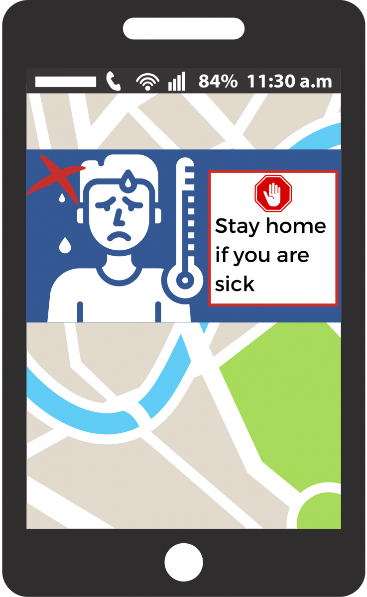 Mock up of cellphone screen with a mapping application open and a notification on the screen offering information about food safety.