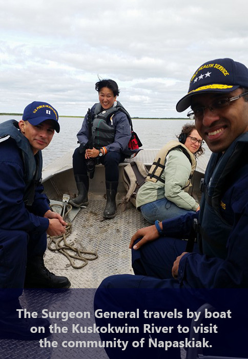 The Surgeon General travels by boat on the Kuskokwim River to visit the community of Napaskiak.