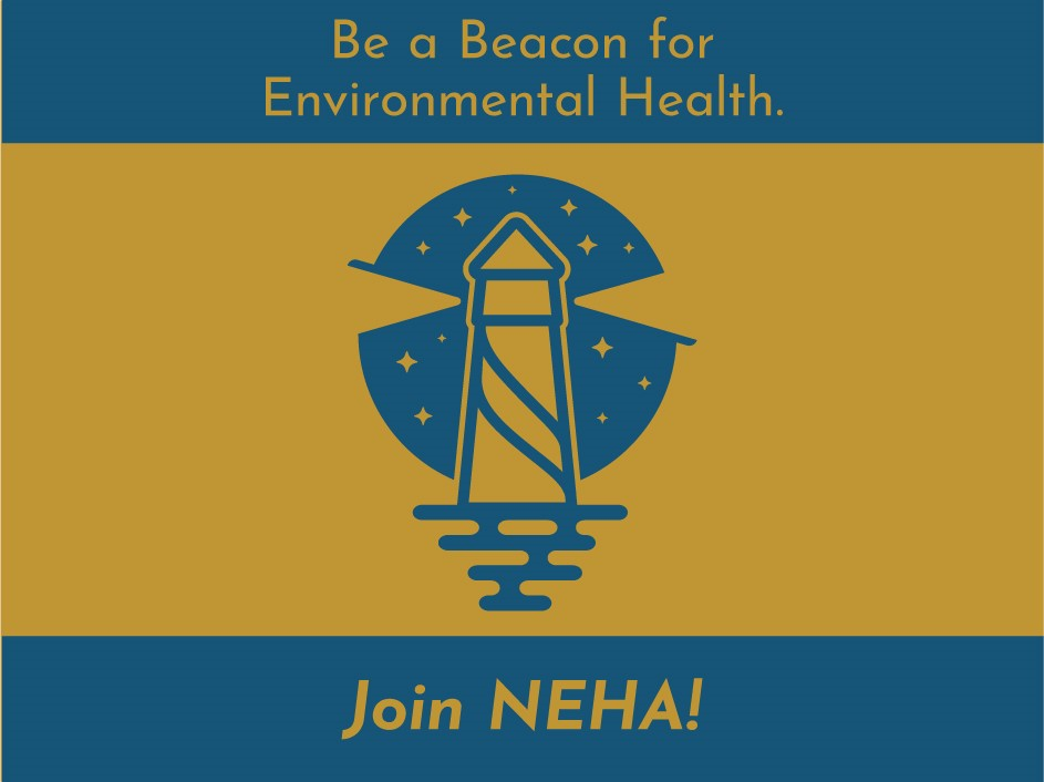 Be a Beacon for NEHA Membership,Lighthouse drawing against starry night