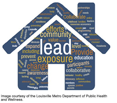 word map of lead risks in the shape of a home