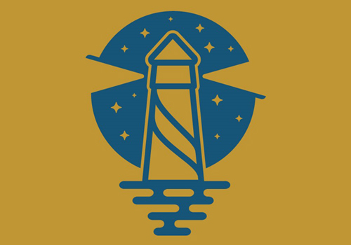 illustrated blue lighthouse against solid gold background