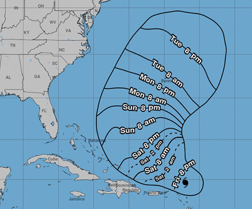 Hurricane Jerry is expected to move north of Puerto Rico and skim the southeastern Bahamas over the weekend.