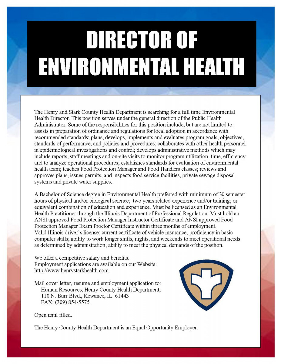 Director of Environmental Health Services Henry & Stark County Health Department