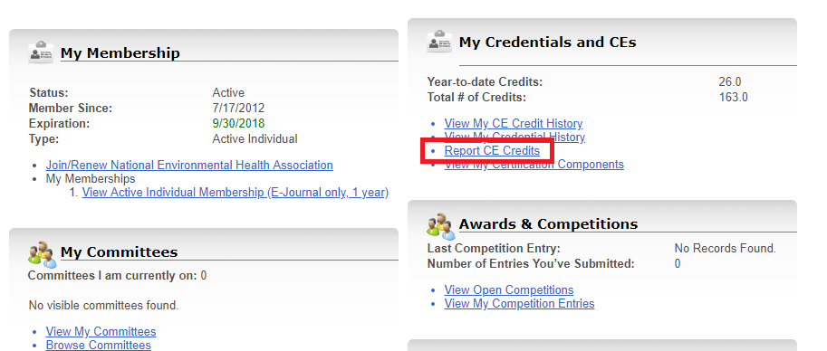 My Credentials and CEs