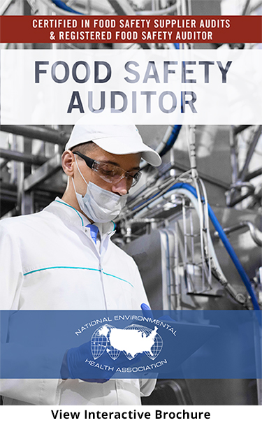Food Safety Auditor Brochure Cover Featuring a man wearing safety glasses, mask and gloves while performing audit in manufacturing plant