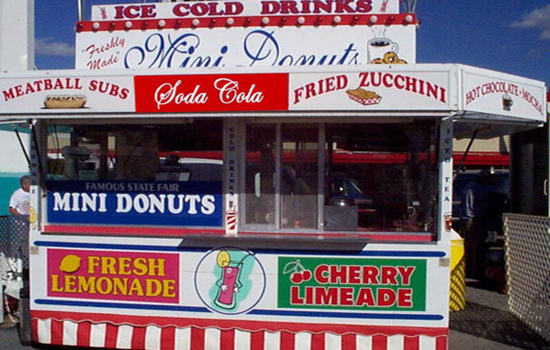 Food Truck offering mini donuts, meatball subs, and fried zucchini