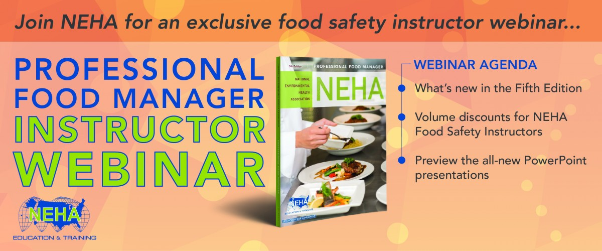 Professional Food Manager Webinar Banner with image of book cover