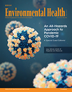 cover of the May 2020 issue of Journal of Environmental Health featuring covid-19 under microscope in blues and oranges