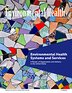 Cover of December 2019 issue of  Journal of Environmental Health (JEH) with jar of honey against a cityscape