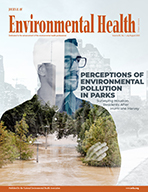 cover of the July/August 2020 issue of Journal of Environmental Health featuring covid-19 under microscope in blues and oranges