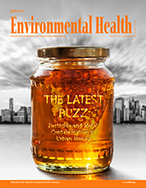 Cover of July/August 2019 issue of  Journal of Environmental Health (JEH) with jar of honey against a cityscape