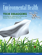 cover of the March 2020 issue of Journal of Environmental Health feature a drone performing a tick drag over grass with ticks.