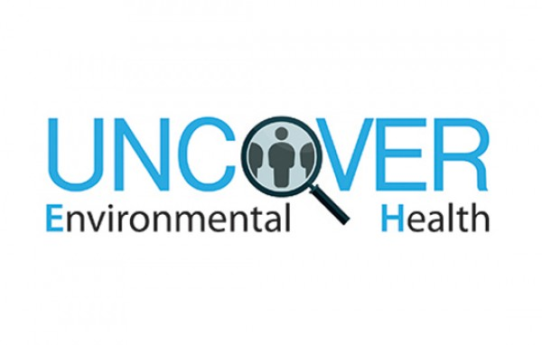 the words uncover environmental health with a magnifying glass focusing on icons of people